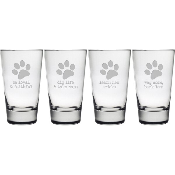 Dog Wisdom Hiball Glass (Set of 4) by Susquehanna Glass