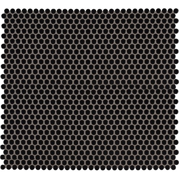 Domino Penny Mesh Mounted Porcelain Mosaic Tile in Black by MSI