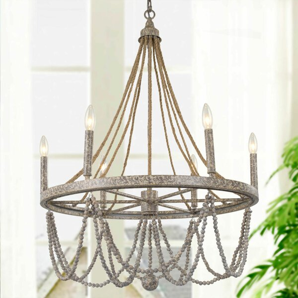 Dianthus 6 - Light Candle Style Empire Chandelier by Bungalow Rose Bungalow Rose