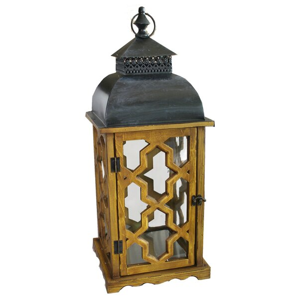 Black/Brown Wood/Metal Lantern by World Menagerie