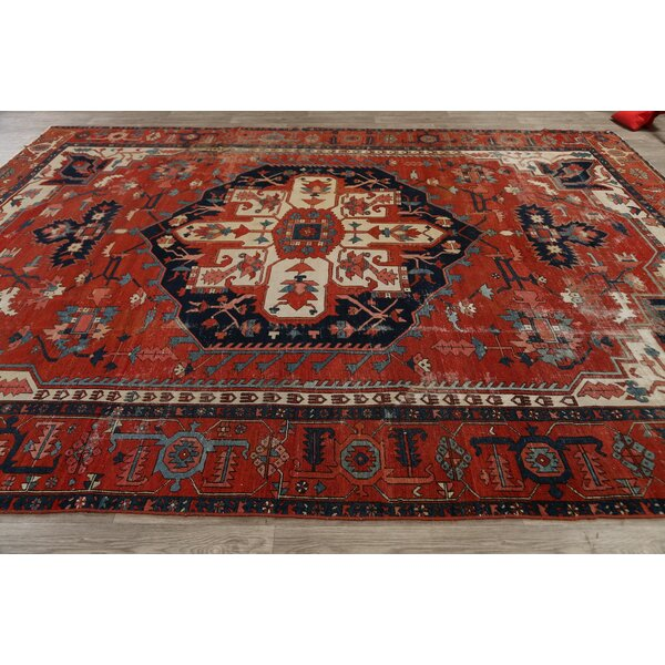 One-of-a-Kind Hand-Knotted Before 1900 Heriz Serapi Red/Black 9'5 x 12'3 Wool Area Rug