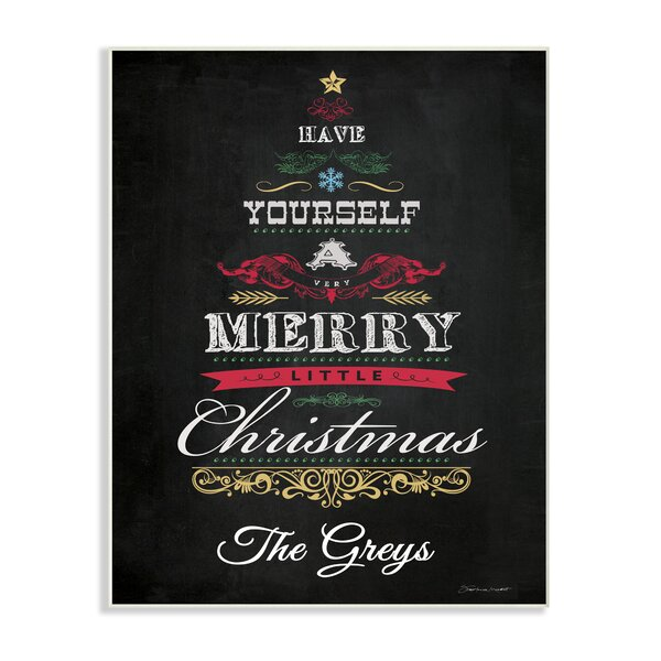 Personalized Merry Little Christmas Holiday Textual Art on Plaque by Stupell Industries