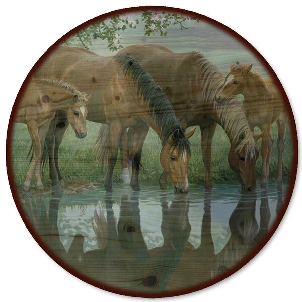 Sweet Spring Horses Lazy Susan by WGI-GALLERY