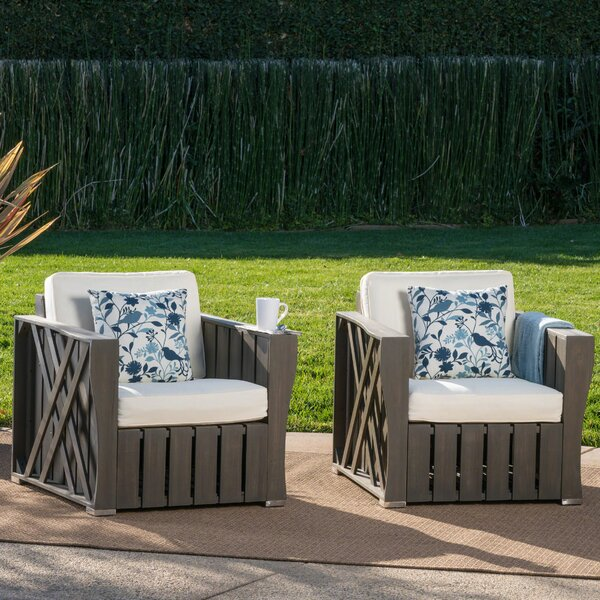 Yarger Patio Chair with Cushion (Set of 2) by Gracie Oaks