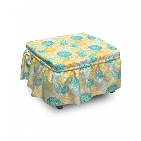 Petals Nature Ottoman Slipcover (Set Of 2) By East Urban Home