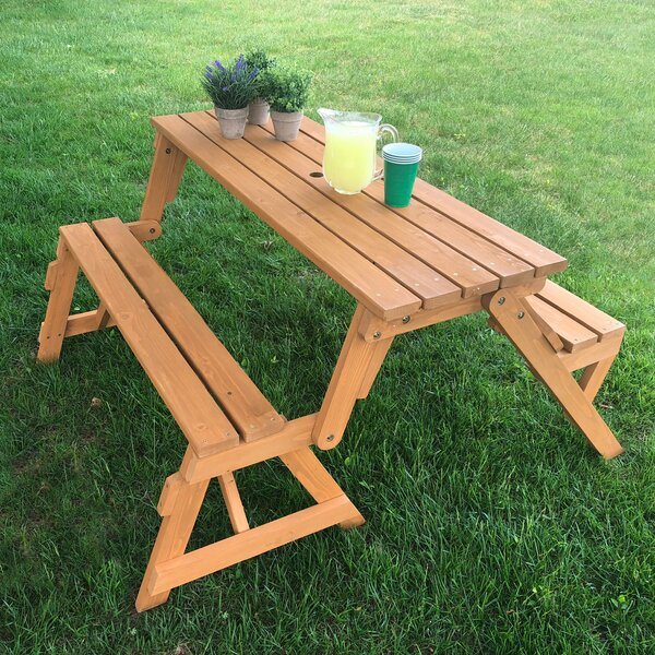 Broseley Folding Solid Wood Picnic Table By Freeport Park