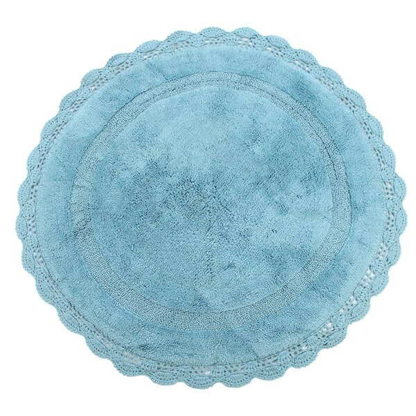 Wingfield Round Crochet Designer Plush Cotton Rug (60 inches, Aqua Blue) by Ophelia & Co.