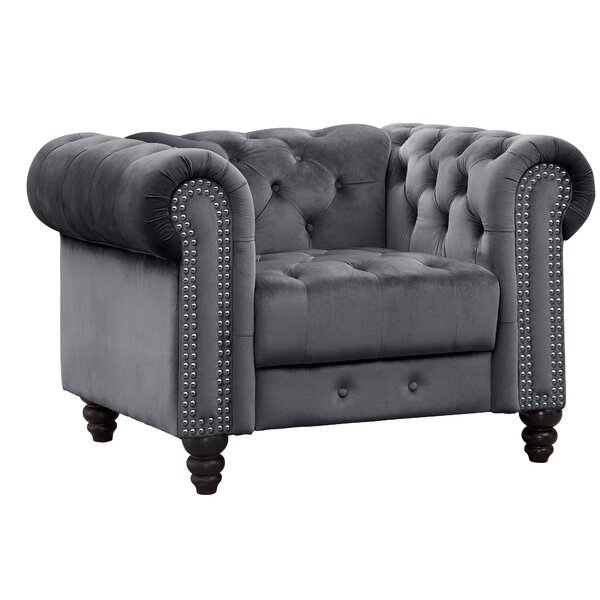 Mohr Velvet Chesterfield Chair by Rosdorf Park