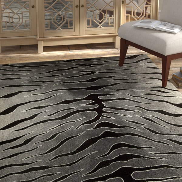 Dovewood Hand-Tufted Black/Gray Area Rug by Bloomsbury Market