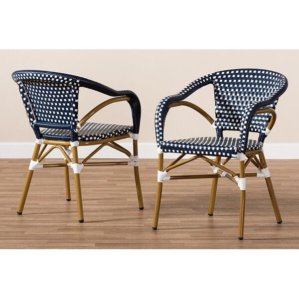 Marburger Bamboo Stacking Patio Dining Chair (Set of 2) by World Menagerie