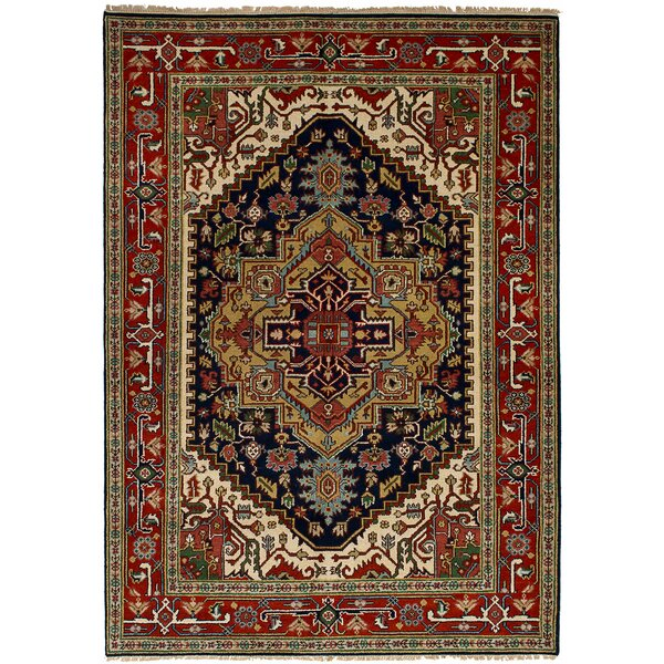 One-of-a-Kind Doerr Hand-Knotted Wool Navy Blue/Red Indoor Area Rug by Isabelline