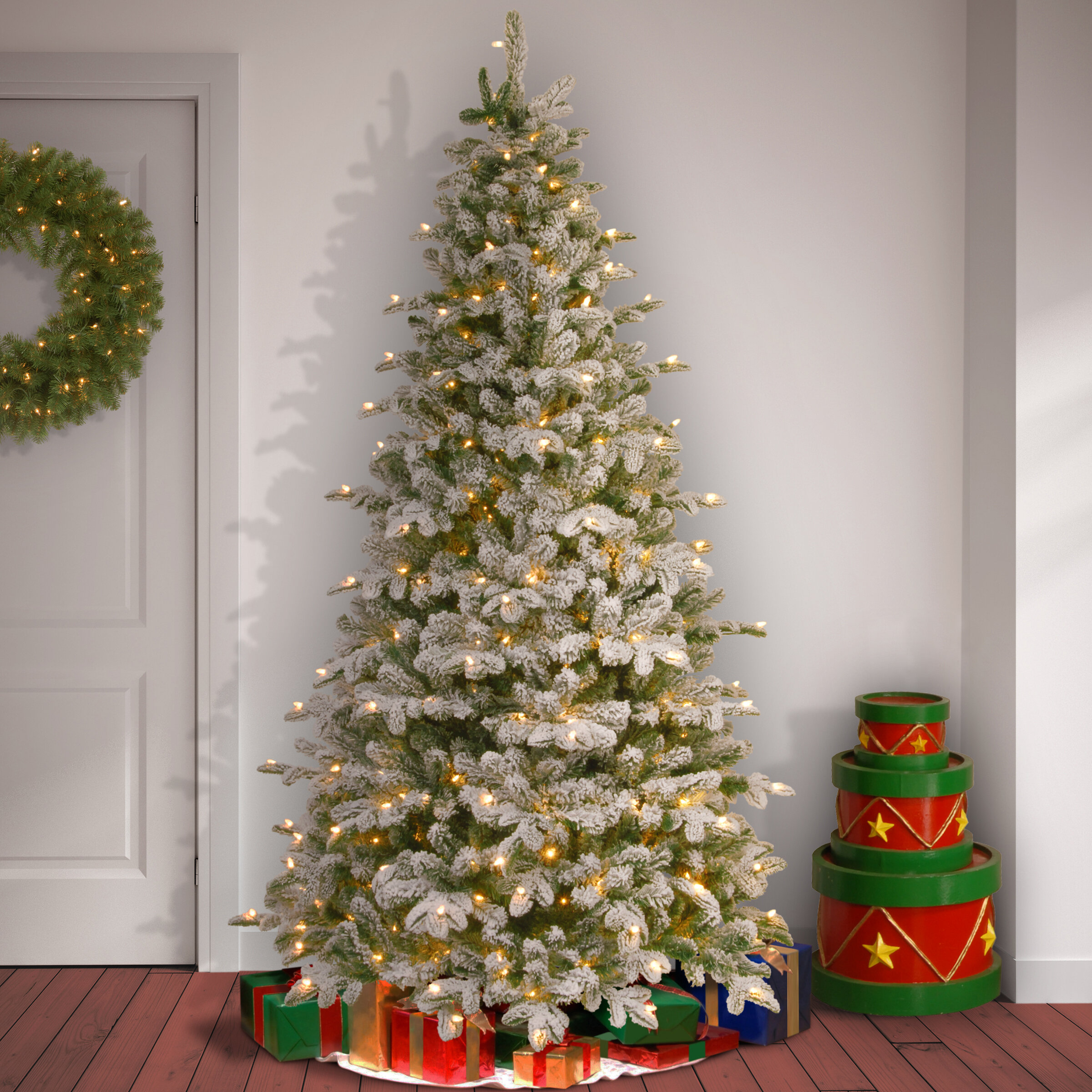 Snowy Frosted Green/White Fir Artificial Christmas Tree with 450 ...