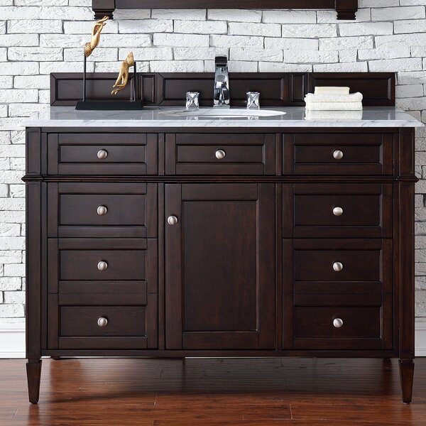 Deleon 48 Single Burnished Mahogany Marble Top Bathroom Vanity Set by Darby Home Co