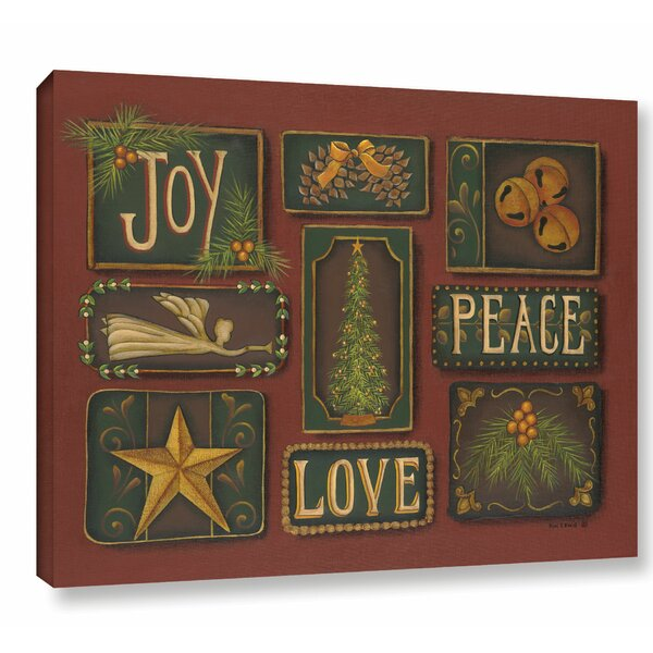 Joy, Peace, Love Textual Art on Wrapped Canvas by The Holiday Aisle