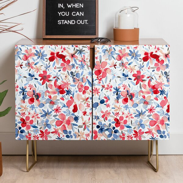 Ninola Liberty Colorful Petals Sideboard Credenza by East Urban Home East Urban Home