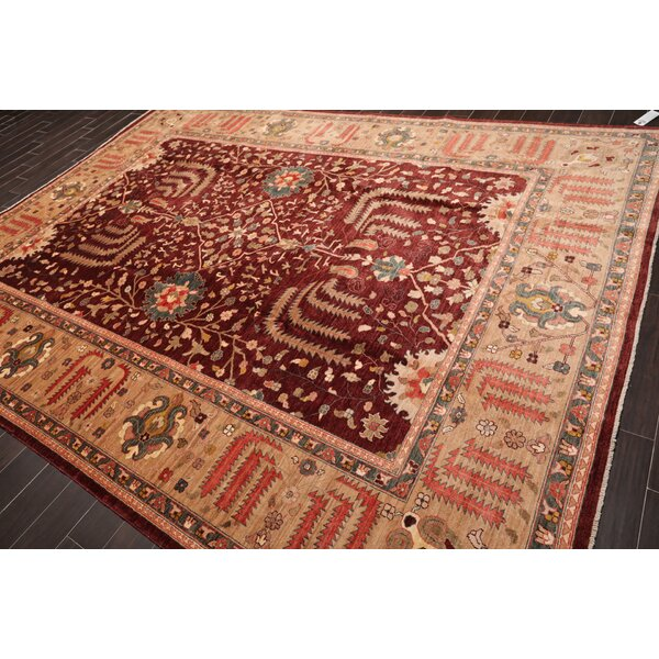 One-of-a-Kind Westrem Hand-Knotted Maroon 8' x 12' Wool Area Rug