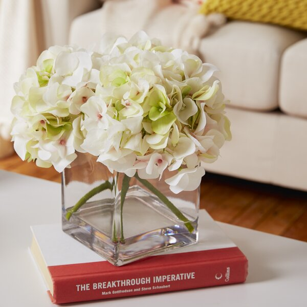 Hydrangea Cluster in Water Cube Vase by Willa Arlo Interiors