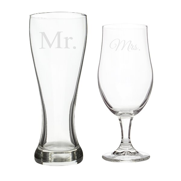 2 Piece His and Hers Pilsner Glass Set by Cathys Concepts