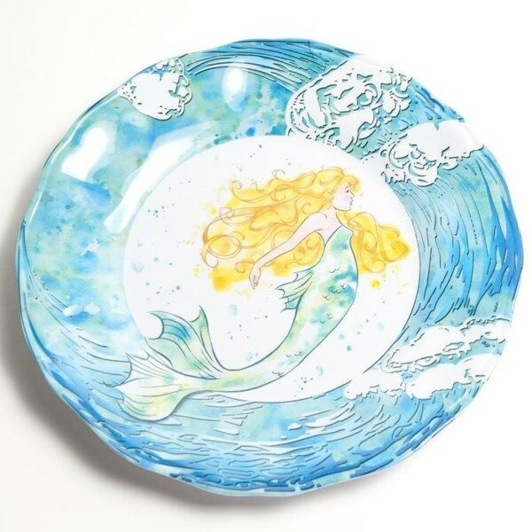 Yacht and Home 11 Mermaid Melamine Non-Skid Dinner Plate (Set of 4) by Galleyware Company