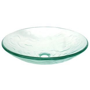Coupon Embossed Waves Glass Circular Vessel Bathroom Sink ByEden Bath