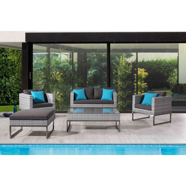 Goncalves 5 Piece Rattan Sofa Set with Cushions by Wrought Studio