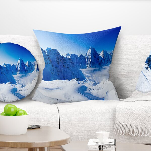 Photography Winter Mountains Pillow by East Urban Home
