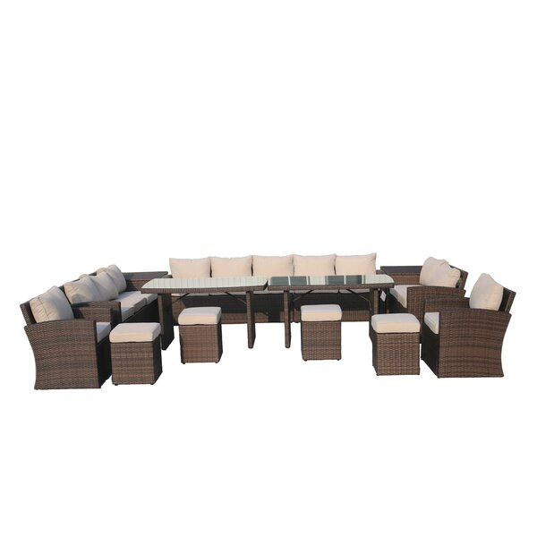 Michelson 14 Piece Rattan Sectional Seating Group with Cushions by Latitude Run Latitude Run