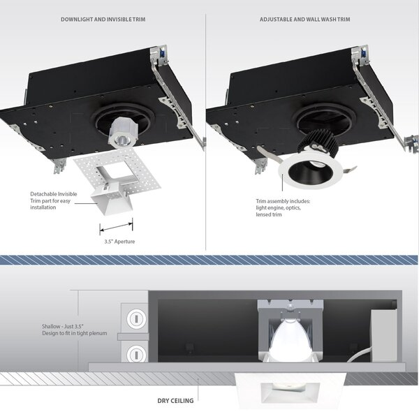 Aether Invisible 3.5 Square Recessed Trim by WAC Lighting