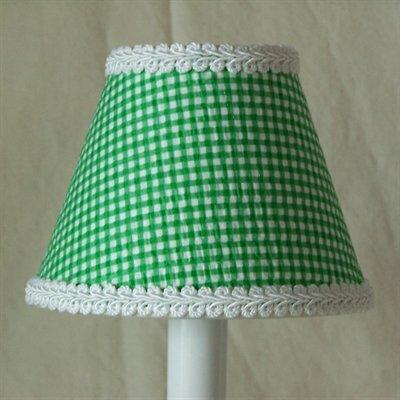 Grasshopper Green 4 H Fabric Empire Candelabra shade ( Clip on ) in Green/White
