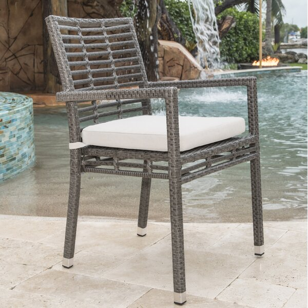 Graphite Stacking Patio Dining Chair with Cushion by Panama Jack Outdoor