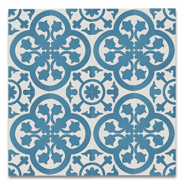 Melah 8 x 8 Handmade Cement Tile in Blue and White by Moroccan Mosaic