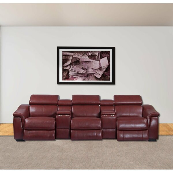 Review Caffrey 5 Piece Leather Home Theater Sofa