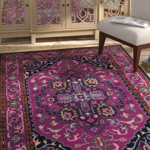 Blokzijl Hand-Tufted Wool Pink/Navy Area Rug by Bungalow Rose