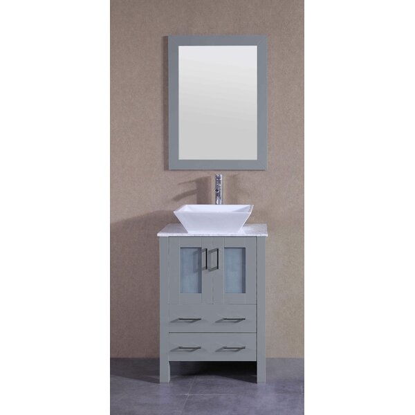Amadis 24 Single Bathroom Vanity Set with Mirror by Bosconi
