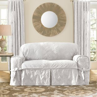 Matelasse Damask Box Cushion Loveseat Slipcover