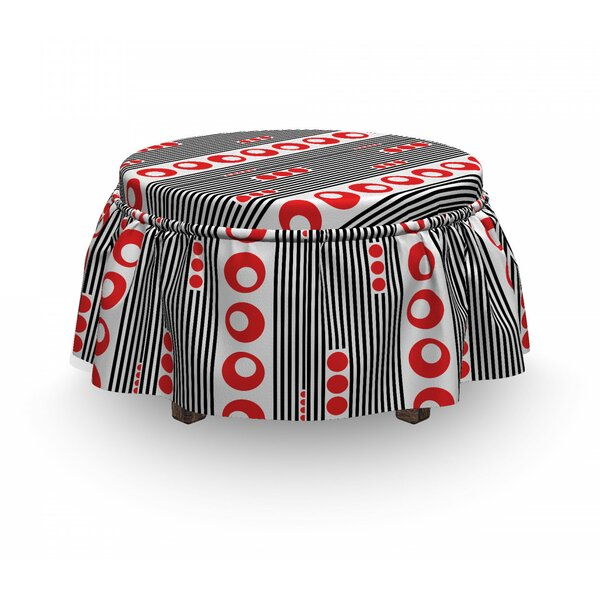 Vertical Stripes Circles Ottoman Slipcover (Set Of 2) By East Urban Home