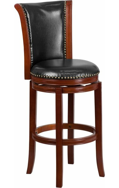 Howze 30'' Panel Back Swivel Bar Stool by Alcott Hill