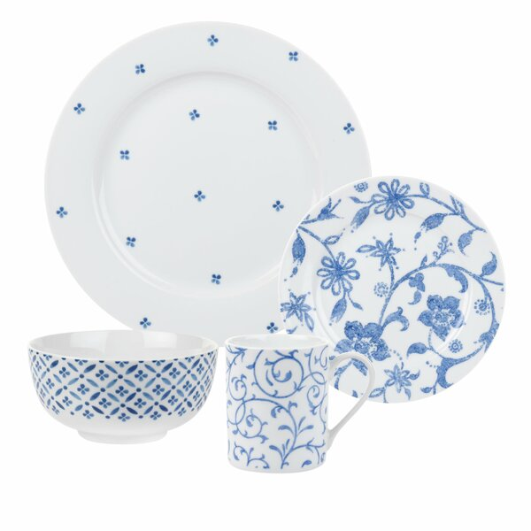 Blue Indigo 16 Piece Dinnerware Set, Service for 4