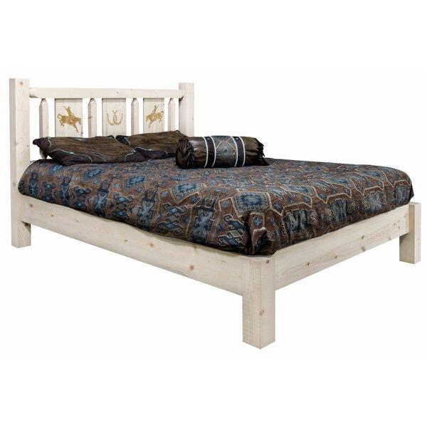 Tustin Laser Engraved Bronc Design Platform Bed by Loon Peak