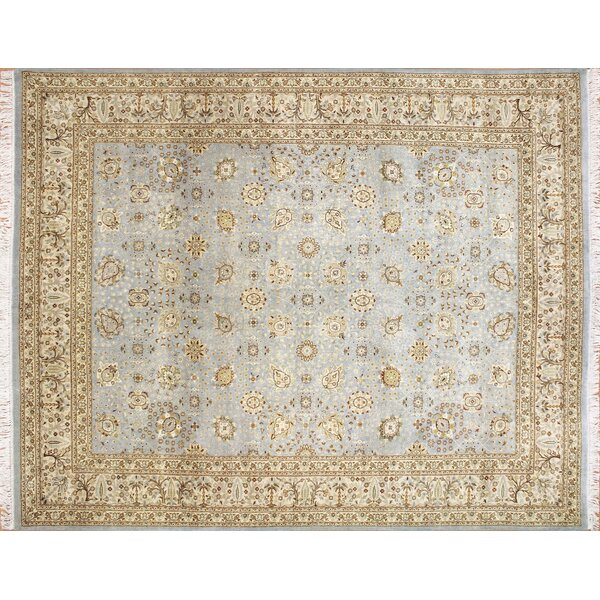 Peshawar Mahtab Hand Knotted Wool Light Blue Area Rug by Darby Home Co