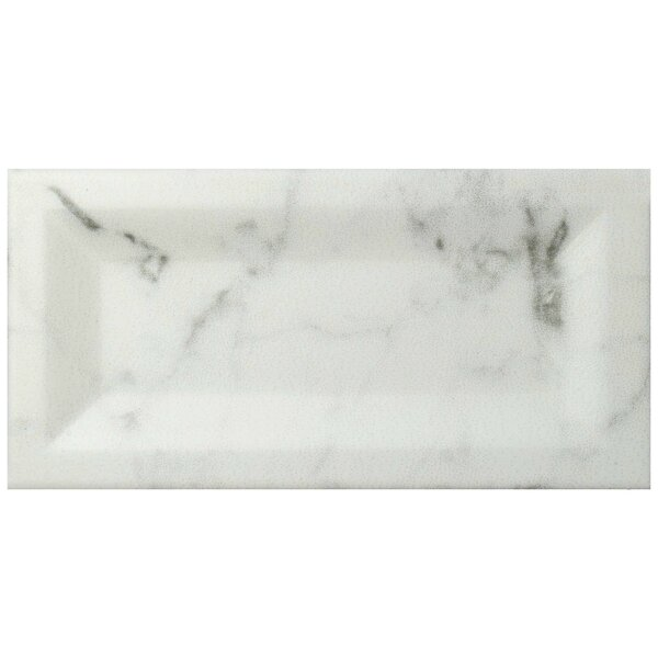 Karra Carrara 3 x 6 Ceramic Subway Tile in Matte Inmetro White/Gray by EliteTile