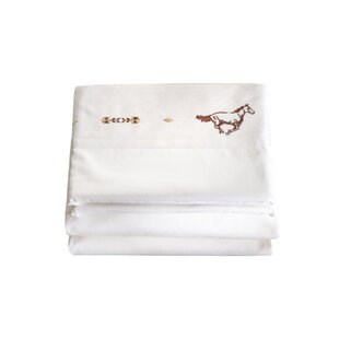 Hannes 4 Piece Embroidered Horse 200 Thread Count 100% Cotton Sheet Set By Loon Peak