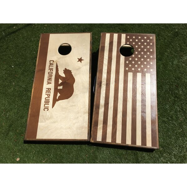 Stained California and USA Flag Cornhole (Set of 2) by West Georgia Cornhole