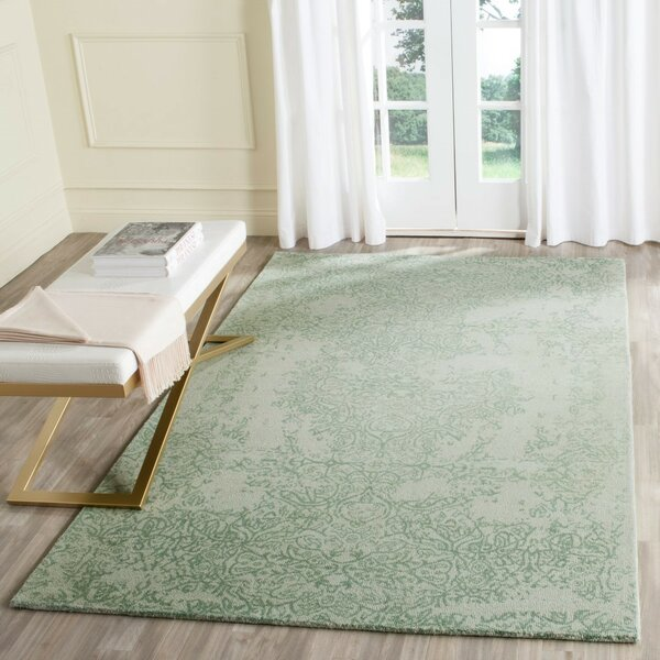 Ellicottville Hand-Tufted Gray/Turquoise Area Rug by Ophelia & Co.