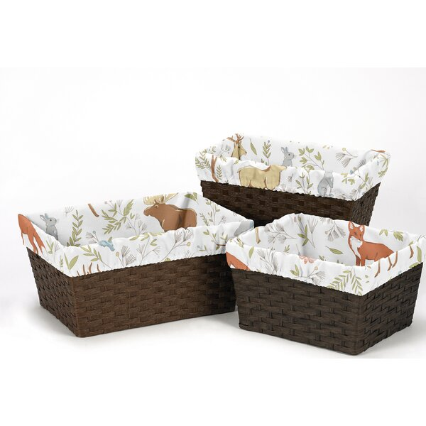 Woodland Toile 3 Piece Basket Liner Set by Sweet Jojo Designs