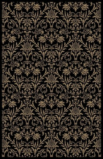Jewel Damask Black Area Rug by Threadbind