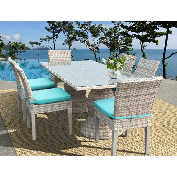 Ansonia Wicker 7 Piece Outdoor Dining Set by Rosecliff Heights