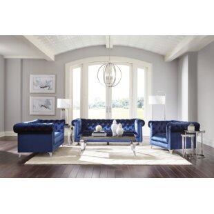 Estrella 3 Piece Velvet Living Room Set by Willa Arlo™ Interiors
