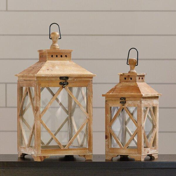 Evansville 2 Piece Wood / Glass Lantern Set by Loon Peak