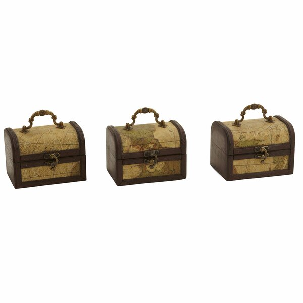 Pembroke Decorative Trunk Chests with Map Design (Set of 3) by Bay Isle Home